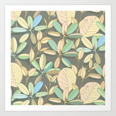Leaf pattern | brown, pale yellow and green Art Print
