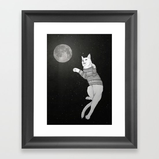 Cat trying to catch the Moon Framed Art Print