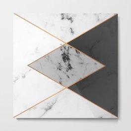 Geometric marble & copper Metal Print