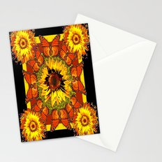Monarch Butterfly Sunflower Black-Gold Geometric Design Stationery Cards