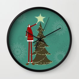 Christmas tree and Santa Wall Clock