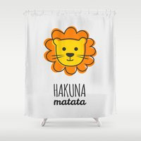 simba Shower Curtains featuring Lion & King by Jane Mathieu