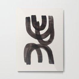 Trapped Mid Century Modern Minimalist Black Ink Painting Funky Tribal Metal Print