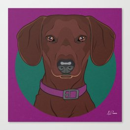 Dachshund Art Poster Dog Icon Series by Artist A.Ramos. Designed in Bold Colors. Canvas Print