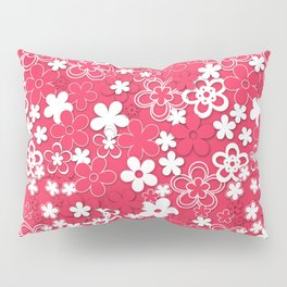 Red and white paper flowers 1 Pillow Sham