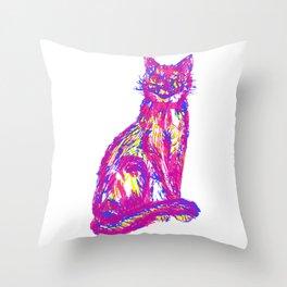 Cute tri-colored cat Throw Pillow