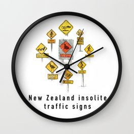 New Zealand insolite traffic signs Wall Clock