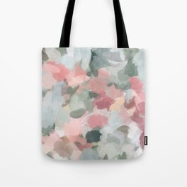 Blue Sage Green Coral Pink Tropical Flowers in the Wind Abstract Nature Ocean Painting Art Print Wall Decor  Tote Bag