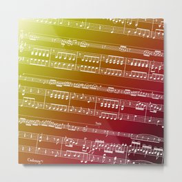 Double Bass Concerto Music on Red Metal Print