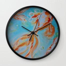 GoldFish Bubbles 1ne watercolor by CheyAnne Sexton Wall Clock