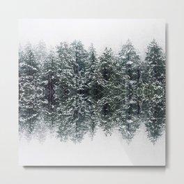 Snow Forest Mountains - Photo Art Metal Print