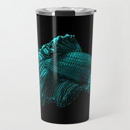Aqua Blue Fighter Fish Art Travel Mug