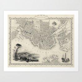 Vintage Map of Boston MA (1838) Art Print
