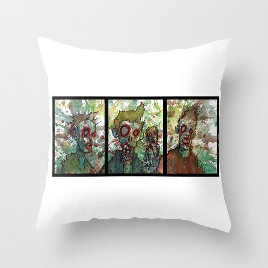 zombie triptych Throw Pillow