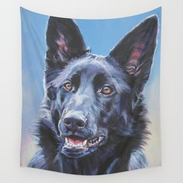 black German Shepherd dog portrait art from an original painting by L.A.Shepard Wall Tapestry