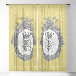 Queen Bee   Vintage Bee with Crown   Honeycomb   Sheer Curtain