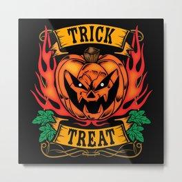 Halloween Trick or Treat Biker Design Metal Print
