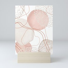 Blush Gold Pebbles 1 - Line Art Drawing Abstract Minimal Lines Design Mini Art Print