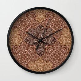 Copper Boho Mandela Pattern Wall Clock