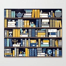 Book Case Pattern - Blue Yellow Canvas Print