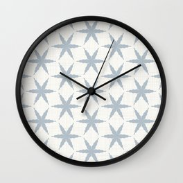 Farmhouse French Blue Country Linen Star Pattern Wall Clock