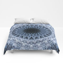 Mandala in blue and gray tones Comforters