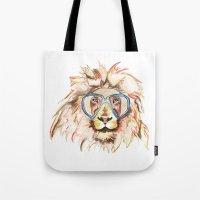 scuba Tote Bags featuring Scuba Lion by Kristen Williams