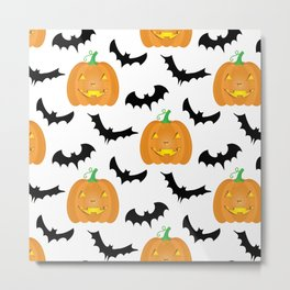Halloween Pumpkins and Bats Metal Print