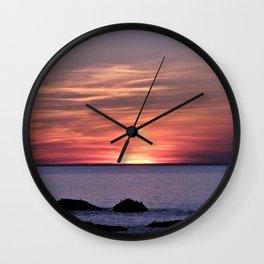 Dusk By The Sea Wall Clock