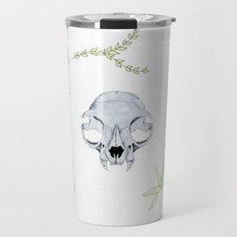 minimalist cat skull and vines Travel Mug