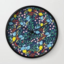Floral Garden - Blue Wall Clock