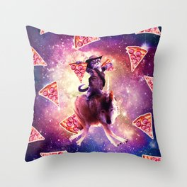 Cowboy Space Cat On Wolf Unicorn - Pizza Throw Pillow