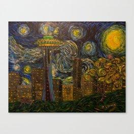 Dedication to Van Gogh: Seattle Starry Night Canvas Print
