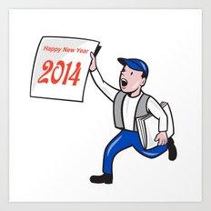 New Year 2014 Newspaper Boy Showing Sign Cartoon Art Print