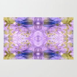 Botanical Abstract Gold and Ultra Violet Rug