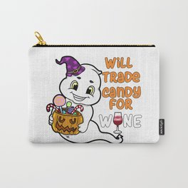 ghosty Halloween Trick or Treat Wine Ghost Present Gift Carry-All Pouch
