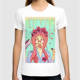 Girl and the blood T-shirt
