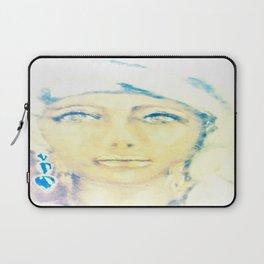 Lady in a White Scarf Laptop Sleeve