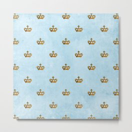 Gold crowns on lightblue watercolor backround- pattern Metal Print