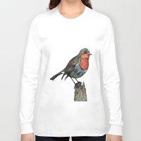 robin Long Sleeve T-shirts featuring Robin by Jess Stewart-Croker
