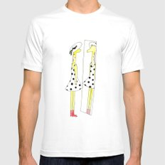 Gloria the Giraffe in a polka dot dress MEDIUM Mens Fitted Tee White