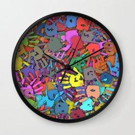 Color handprints Wall Clock