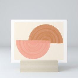 Minimalist Rainbow Art // semi-circle, geometric, digital drawing Mini Art Print
