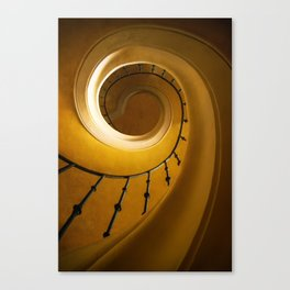 Brown and golden spiral staircase Canvas Print