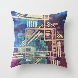 Aztec Gold Tribal Pattern Throw Pillow