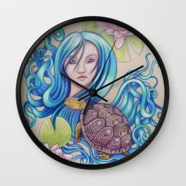 Blue Nova, Turtle Colored Pencil Drawing Wall Clock