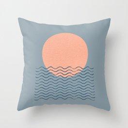 Ocean Wave Sun Blue - Mid Century Modern Throw Pillow