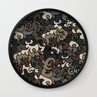 military Wall Clocks featuring Military pattern by Julia Badeeva