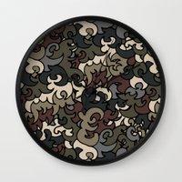 military Wall Clocks featuring Military pattern by Julia Badeeva