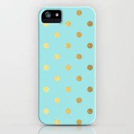 Gold polka dots on aqua background - Luxury turquoise pattern iPhone Case